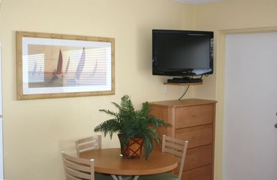 Dinette and Wall Mounted LCD Television and DVD Player - Free Internet