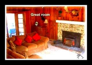 Twain Harte cabin photo - Family Room, All furniture on rollers, Have five fold up table for groups
