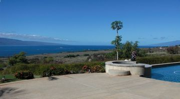 North west view from pool deck;Lanai on left Molokai on right