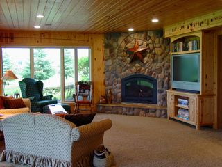 Lake Pepin house photo - Lower level Family Room with gas Fireplace and big screen TV.