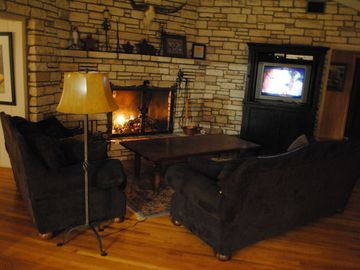 Additional Living Room with a second fireplace, TV/DVD and comfortable seating