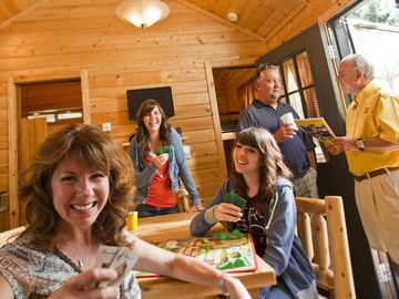 Board games in the lodge or around the Campfire