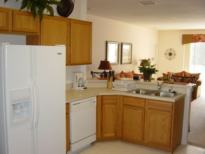 Kitchen Area With American Style Fride Freezer