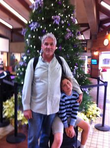 Just landed! Dave and Maui at the Kahului Airport. 2013