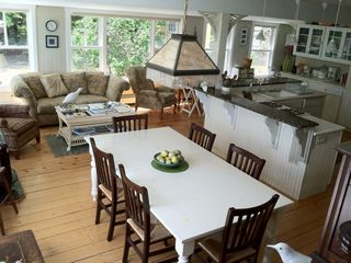 Harpswell cottage photo - Cooking, dining and relaxing all in one~this is a great spot for entertaining!