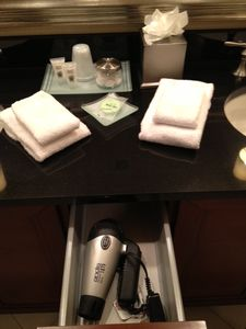 hair dryer and amenities