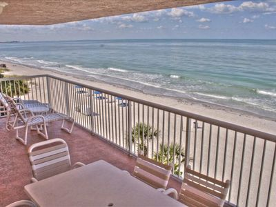 "Madeira Beach condo rental - Large comfortable balcony with 180 degree ""two corners"" view"