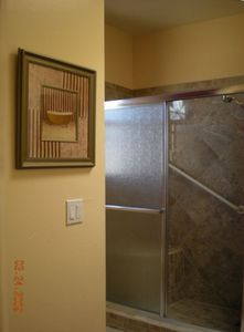 Beautiful bath with marble shower, in floor radiant heat, large closet