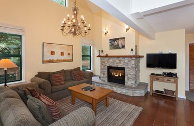 Main Living Area with Gas Fireplace and Flat Screen TV