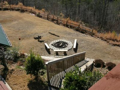 Large back yard with huge bonfire pit and horseshoe pits