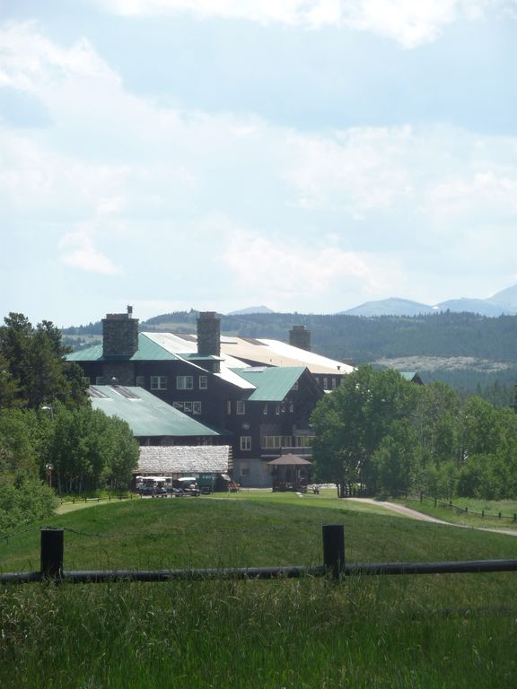 view of Glacier Park Lodge from Candy Kitchen