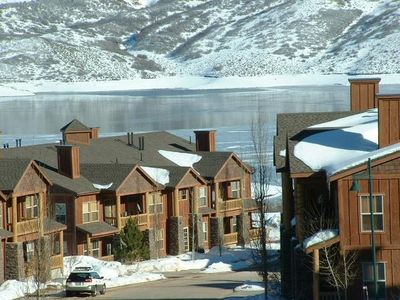Winter view of Jordanelle Reservoir from the condo (east view).