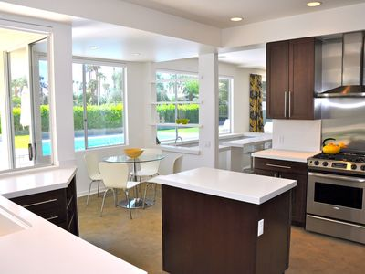 Kitchen with Caesarstone counters facing Breakfast Nook