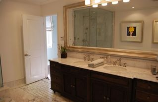 Manhattan Beach house photo - Master bath with steam, jet tub, double sink, marble counter and mosaic floor