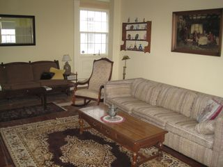 Westport Island house photo - The living room has seating for 10-12, has tv and a over 40 DVDs.