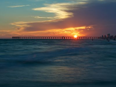 Panama City Beach known for its gorgeous sunsets. Walk nightly to this view.