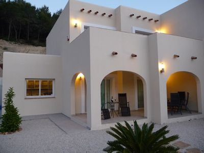 Luxury Ibiza style 4 bedroom villa with large garden, pool and mountain views