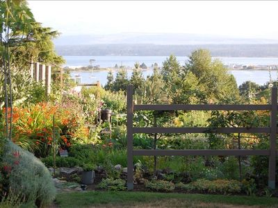 Comox cottage rental - The view from the back yard of the property