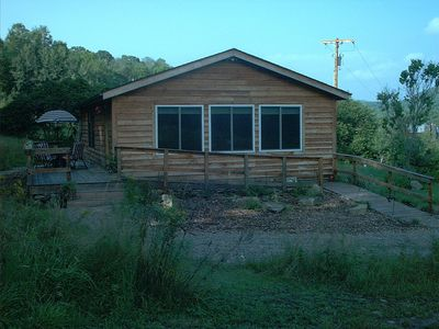 Ellicottville cabin rental - Outside wrap around deck with propane grill on back deck, overlooks a pond.