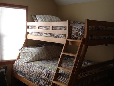 Bedroom three has a bunk bed - double on bottom & single on top