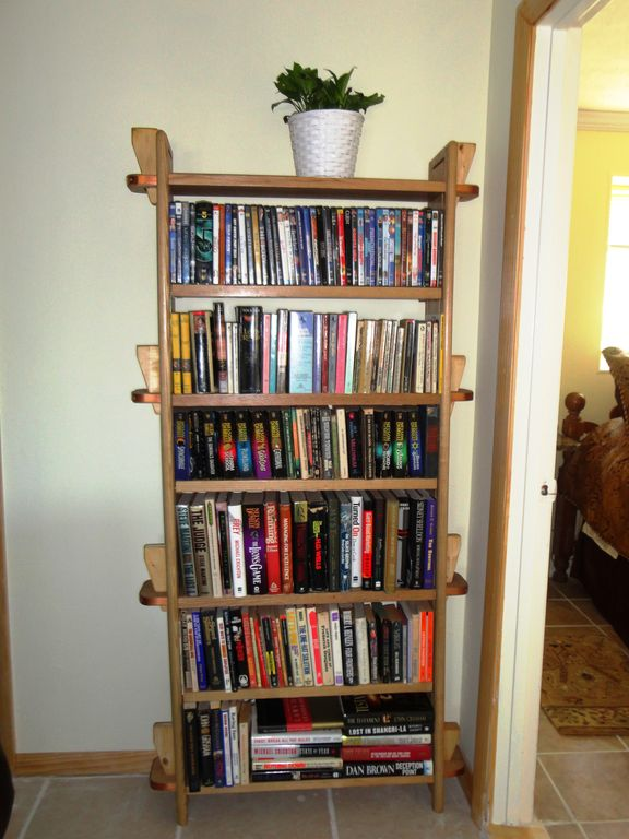 One of three leisure reading book cases.