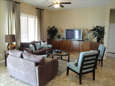 Enjoy and relaxing evening in this spacious family room with HDTV....