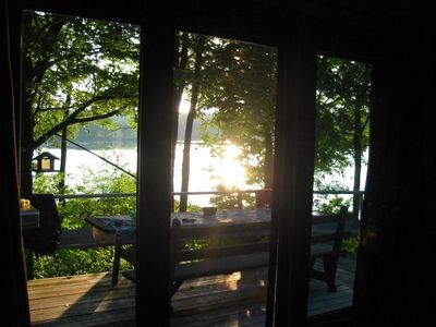 Big Bass Lake house rental - Looking through the living room door to the lake.