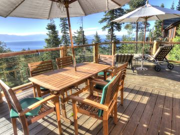 Cedar Flat house rental - Expansive views of Lake Tahoe from the deck with 2 tables plusloungers - enjoy!!