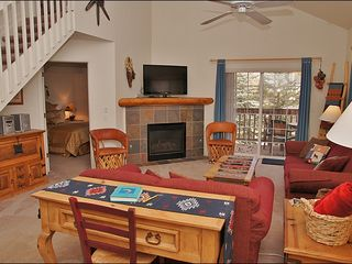 Steamboat Springs townhome photo - Vaulted Ceilings, Fireplace, HDTV with DVD, Stereo, & Queen Pull Out Couch.