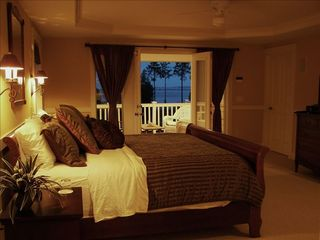 Poulsbo house photo - Master Bedroom Suite with private covered porch & views Mt. Baker & Hood Canal