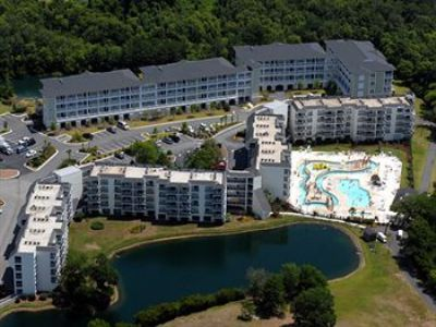 Aerial shot Seaside Inn,pool and lake.