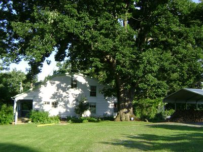 House with ancient white oak.