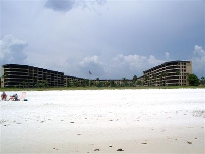 Gulf and Bay Club from Siesta Key Beach.  Love that white sand.