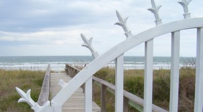 Gated boardwalk to beach