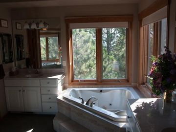 The master bathroom has a stand alone shower and jacuzzi tub overlooking beauty.