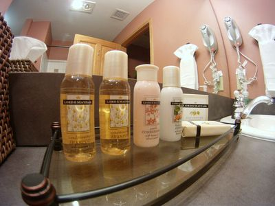 Lord & Mayfair shampoo, conditioner, lotion, moisturizing and deodorant soap.