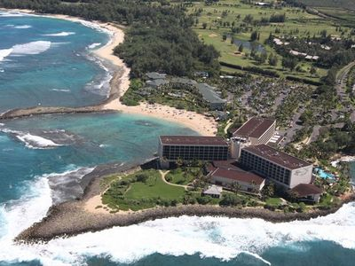 Ocean Villas Cove is to the left of Turtle Bay Resort (Sandy Protected Cove)