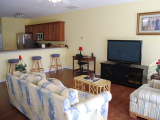 Surfside Beach house photo - Living room and kitchen view with new paint for 2013