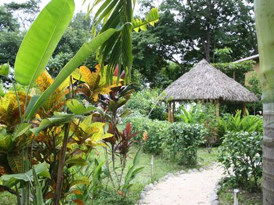 Tango Mar house rental - Trail to pool and rancho with Villa Pochote