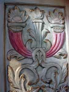custom hand-painted & carved cabinetry & doors - stunning!
