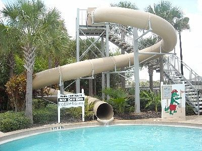 Two story high tube slide at the Water Park. Free access for our guests.