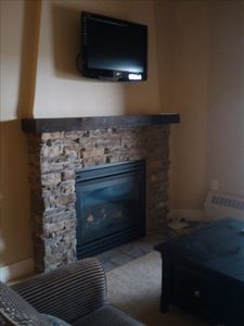 Gas fireplace to warm the winter chills.