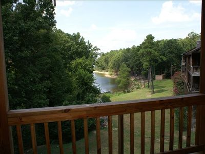View of lake from deck in summer