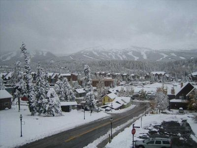 Master Bedroom Winter View to Main Street and the mountain