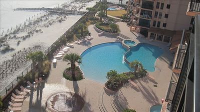 View from the balcony overlooking the Center Tower pools on west side