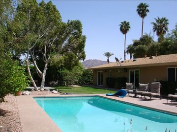 Palm Desert house rental - Large Pool and back yard looking west.