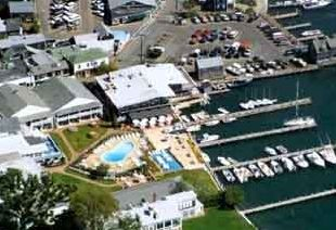 Edgartown condo rental - Harborside Inn on left, Edgartown Yacht Club on right