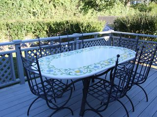 Bridgehampton cottage photo - Back deck with imported Italian handpainted table. Private yard with parking.
