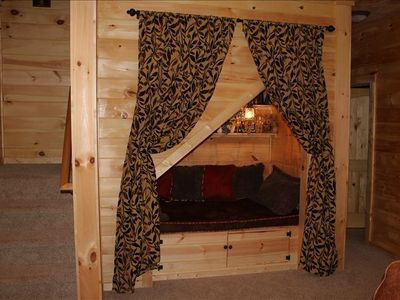 Reading nook - 4' wide by 6' long Great place for kids to sleep. Cute chandelier
