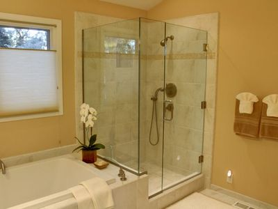 Master bath with separate shower and deep soaking tub.